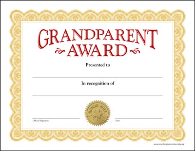 Grandparent Award Certificates  WwwSomethingtoremembermebyOrg