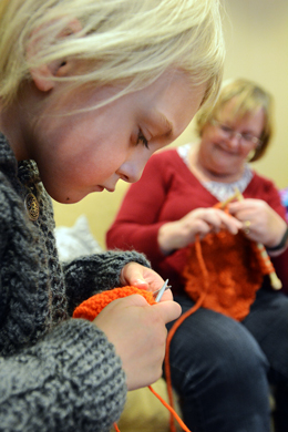 Knitting a Stronger Community, photo courtesy of Stouffville Sun-Tribune, photographer Steve Somerville