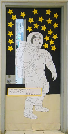 Decorated classroom door by students at St. James School