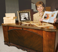 Susan with the cedar chest from her grandmother