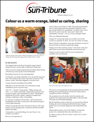 Colour us a warm orange, label us caring, sharing